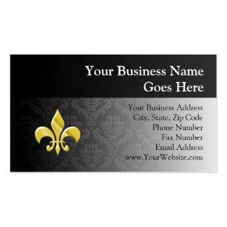 Black/Gold Damask Fleur de Lis Business Cards