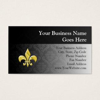 Black/Gold Damask Fleur de Lis Business Card