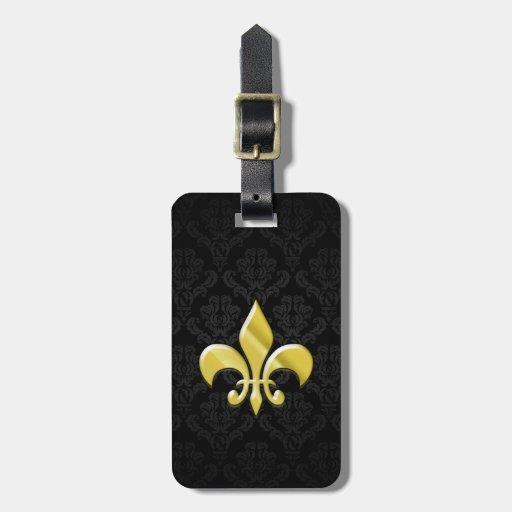 Black/Gold Damask Fleur de Lis Bag Tags