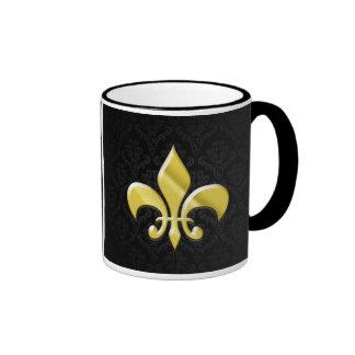 Black/Gold Damask Fleur de Lis Coffee Mug
