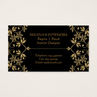 Black Gold Damask  Interiors Business Cards