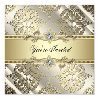 Black Gold Damask Party Personalized Announcement