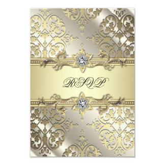 Black Gold Damask Party RSVP 9 Cm X 13 Cm Invitation Card