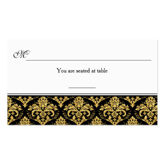 Black, Gold Damask Reception Place Card Business Cards