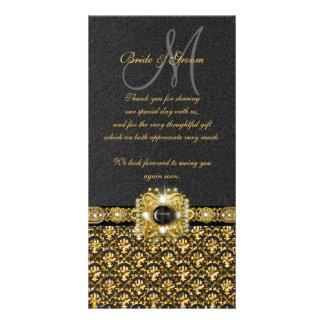 "Black gold damask ""thank you"" customized photo card"