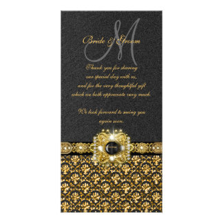 "Black gold damask ""thank you"" picture card"