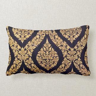 Black & Gold Damask Traditional Contemporary Print Lumbar Cushion