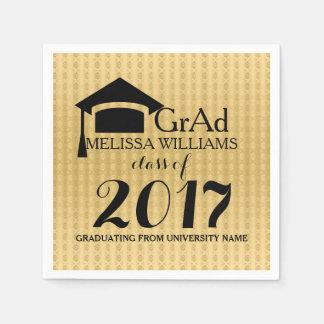 Black & Gold Damasks Modern Grad Class Of 2017 Disposable Serviettes
