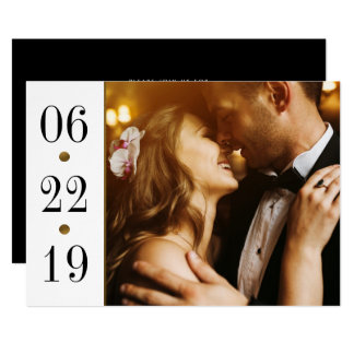 Black & Gold Date | Custom Photo Engagement Party Card