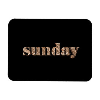 Black Gold Days of The Week Sunday Typography Magnet