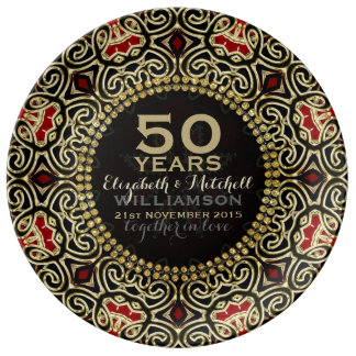 Black+Gold Decor Modern Damask 50th Anniversary Plate