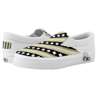 Black gold diamond Zipz Slip On-ShoesUS-Women's Printed Shoes
