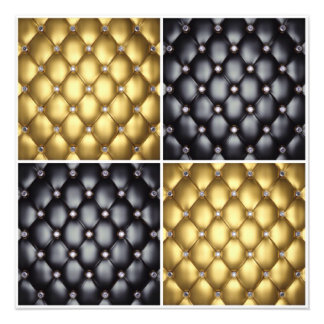 Black Gold Diamonds Collage Pattern Design Photo Print