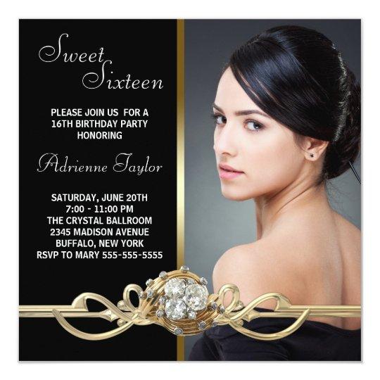 Black Gold Diamonds Photo Sweet Sixteen Birthday Card