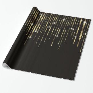 Black Gold Disc Strands Elegant Sparkle gift wrap