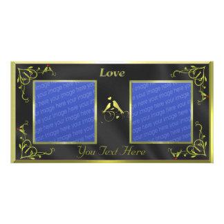 Black Gold Double Frame Lovebirds Photocard Customized Photo Card