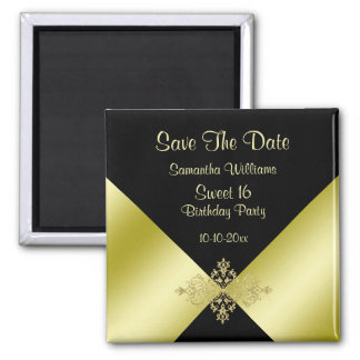 Black & Gold Elegance Sweet 16 Save The Date Square Magnet