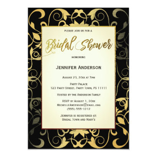Black Gold Elegant Bridal Shower Card
