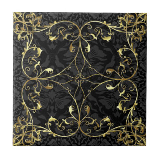 Black & Gold Elegant Floral Damask  Pattern 2 Ceramic Tile