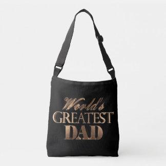 Black Gold Elegant Typography World's Greatest Dad Crossbody Bag