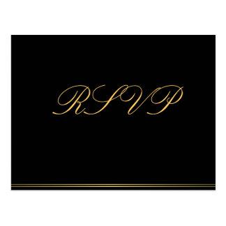 Black Gold Elegant Wedding RSVP Postcards