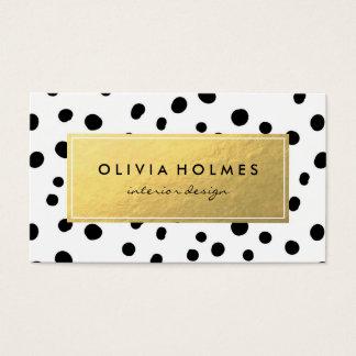 Black & Gold Faux Foil Dot Pattern Business Card