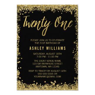 Black Gold Faux Glitter 21st Birthday Invitations