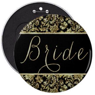 Black, Gold & Faux Glitter Damasks Bride Text 6 Cm Round Badge