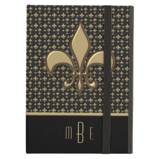 Black Gold Faux Metal Fleur de Lis Case For iPad Air