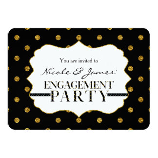 Black & Gold Faux Polka Dots ENGAGEMENT Invitation