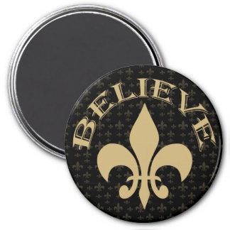 Black Gold Fleur de Lis Believe Fridge Magnet