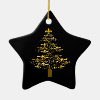 Black Gold Fleur de Lis Christmas Tree Star Ceramic Ornament