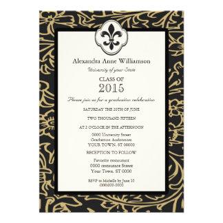 Black Gold Fleur de Lis Floral Formal Graduation Invitations