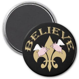 Black Gold Fleur de Lis Flying Pigs Fridge Magnets