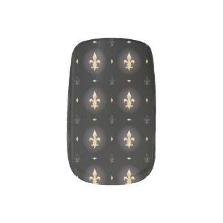 Black & Gold Fleur De Lis gothic minx Nail Stickers