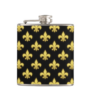 Black Gold Fleur de Lis New Orleans Mardi Gras Flasks