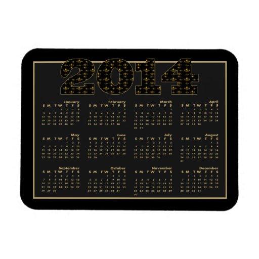 Black Gold Fleur de Lis Pattern 2014 Calendar Rectangle Magnet