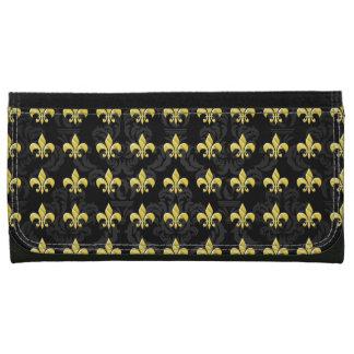 Black/Gold Fleur de Lis Pattern Wallet