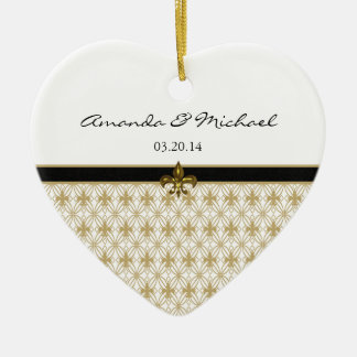Black Gold Fleur de Lis Pattern Wedding Ceramic Heart Decoration