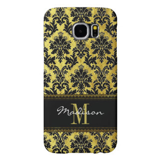 Black & Gold Floral Damask, Lace, Name & Monogram Samsung Galaxy S6 Cases