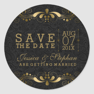 Black & Gold Floral Lace Save The Date Round Sticker