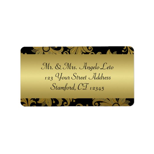 Black, Gold Floral Return Address Label