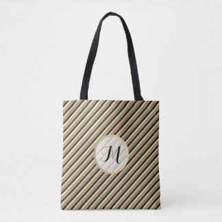 Black Gold Floral Stripe Monogram Wedding Tote Bag