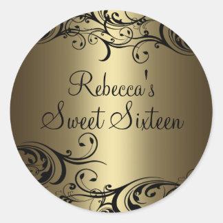 Black/Gold Floral Swirl Sweet 16 Sticker