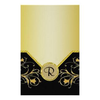 Black & Gold Flowering Vines Monogram Wedding Stationery
