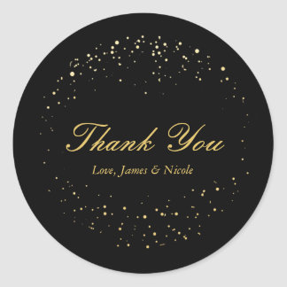 Black & Gold Foil Abstract Circle Dots Stickers