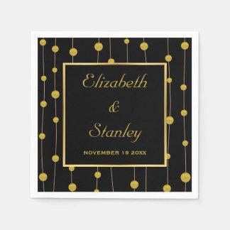 Black, gold foil beads and frame modern wedding disposable serviette