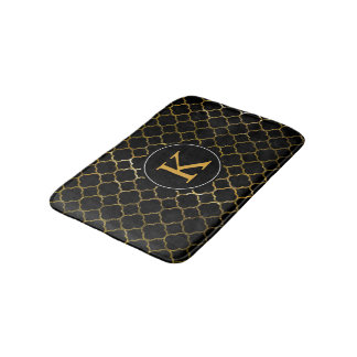 Black Gold Foil Look Moroccan Quatrefoil Monogram Bath Mat
