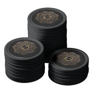 Black Gold Foil Mandala Boho Wedding Monogram Poker Chips