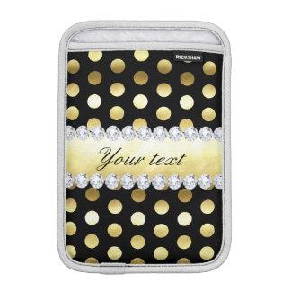 Black Gold Foil Polka Dots Diamonds iPad Mini Sleeve